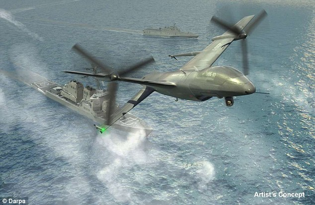 Northrop has refsed to reveal details of its final design - but Defence bosses revealed this early concept for the craft.Northrop's tailsitter design includes a set of large counter-rotating propellers covering almost two-thirds of a roughly 9.14m (30ft)-diameter.