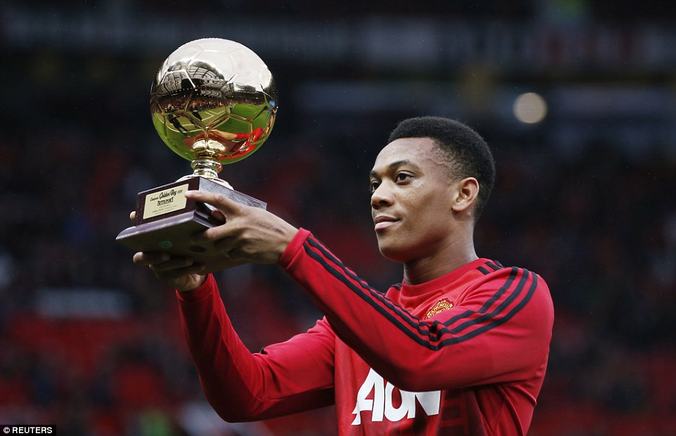 Youngster Martial received the Golden Boy award, for the best young player in Europe, ahead of the game