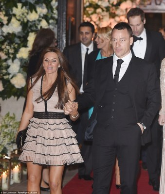 His leading lady: The footballer was with his pretty wife, Toni, on the special day