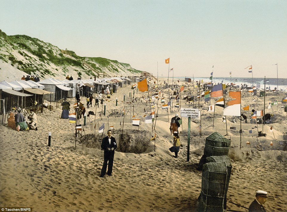 The amazing images show a time of peace and serenity in Germany, here featuring the coast round Westerland