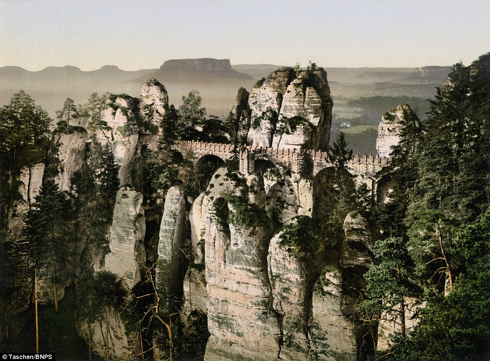 The Bastei Bridge seen from Ferdinandstein rock was built in the 1850s replacing an earlier wooden structure showing Germany's advance