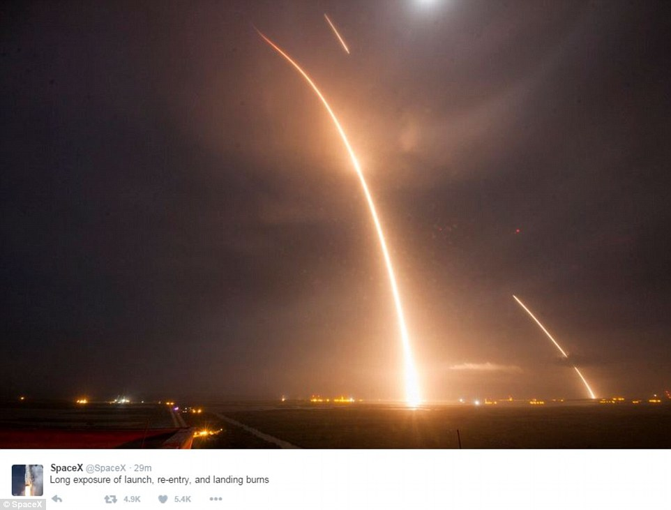 This long-exposure picture tweeted by the SpaceX team shows the SpaceX Falcon 9 lifting off (left) from its launch pad and then returning to a landing zone (right) at the Cape Canaveral Air Force Station
