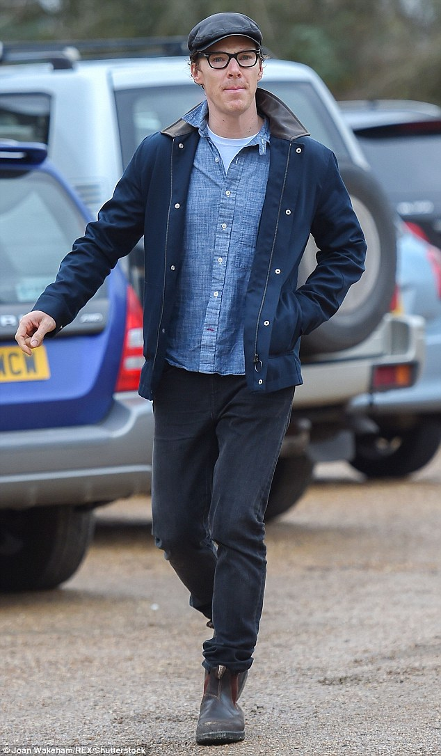 Out and about: Benedict Cumberbatch joined his parents at a pub in the Cotswold on Tuesday afternoon