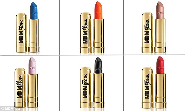 Pictured, lipstick shades from Florence's make-up range MDM flow. Clockwise from top left are: Mas Marina, V Dutch, Sweet Escape, Supreme, Di La La and Milkshake, all priced at £18
