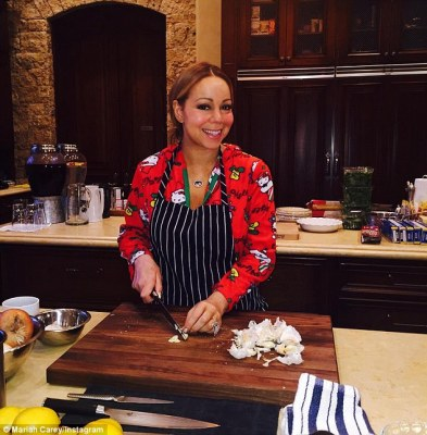Cooking up a storm: The 45-year-old showed she is capable of bringing some festive cheer in the kitchen too