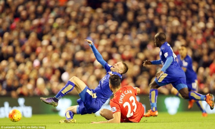 Leicester were dealt a blow in the second half when star striker Vardy (left) was forced off after being scythed down by Can
