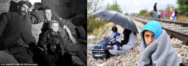 Journey: In 1946 in Poland, a refugee family rests on their belongings during their travel to the farm that awaits them in the Lower Silesia region (left). In 2015 in the former Yugoslav Republic of Macedonia, a boy wrapped in a blanket rests beside a railroad track heading further north to Serbia