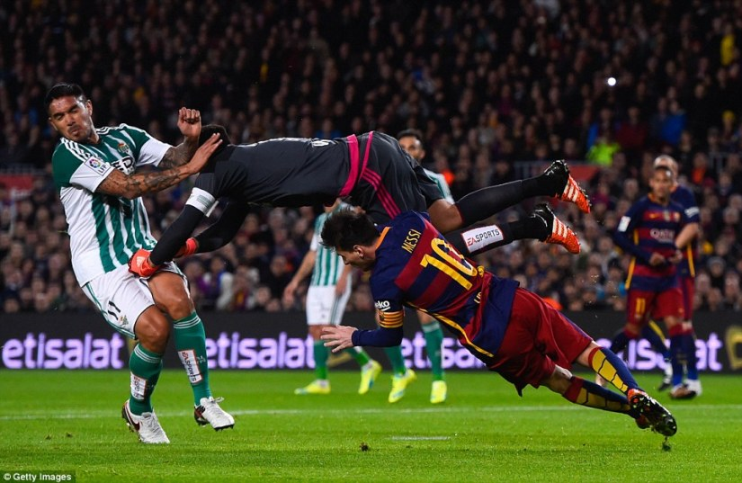 Barcelona were awarded fortunate  penalty in the first half when goalkeeper Antonio Adan collided with Lionel Messi after winning the ball