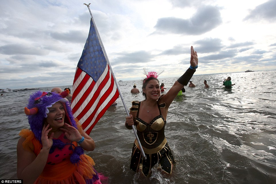 Reuters photo captured the Polar Bear Swim at Coney Island on January 1, 2016. New Years Day is one of the Flag Code designated days to fly the flag.