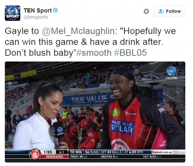 Channel 10 tweeted a screenshot of the interview after it aired, along with the hashtag 'smooth'