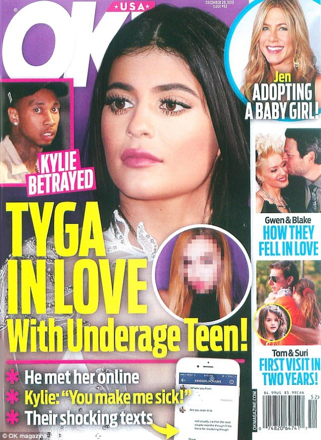 Messaged Tyga: The aspiring model, whose blurred face appeared on the cover of OK magazine, connected with the rapper via Instagram, and he was unaware of her age