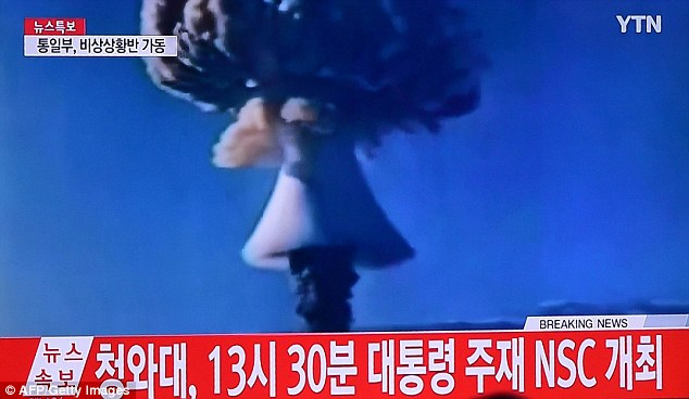 North Korea today conducted a 'successful' hydrogen bomb test, Pyongyang has confirmed. The detonation of the thermonuclear weapon (pictured in a still broadcast on North Korean television) triggered a 5.1 magnitude earthquake when it exploded at 10am local time at the Punggye-ri test site in the north east of the country