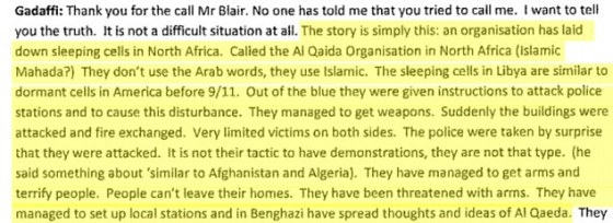 The Libyan leader explained to Blair how al Qaeda had planted themselves in Libya before launching attacks throughout the country