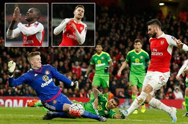 Arsenal 3-1 Sunderland: Joel Campbell, Aaron Ramsey and Olivier Giroud strike as FA Cup