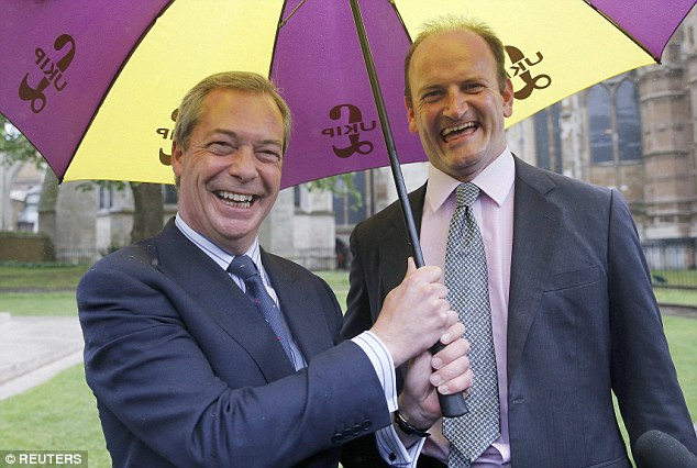 The party's only MP, Douglas Carswell will be ordered to apologise and pledge his allegiance after he called for a 'fresh face' as leader. Pictured, Douglas Carswell with Ukip leader Nigel Farage