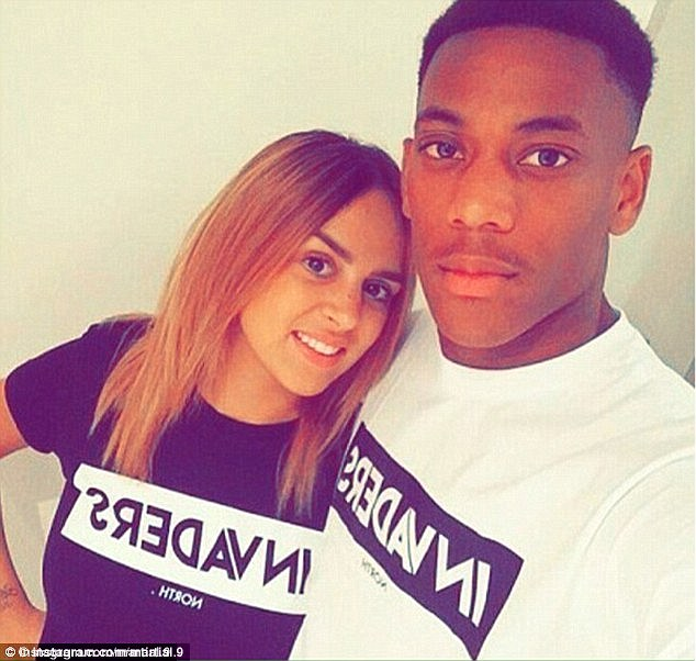 Anthony Martial, 20, pictured with his wife Samantha, is accused of having an affair with an X Factor singer