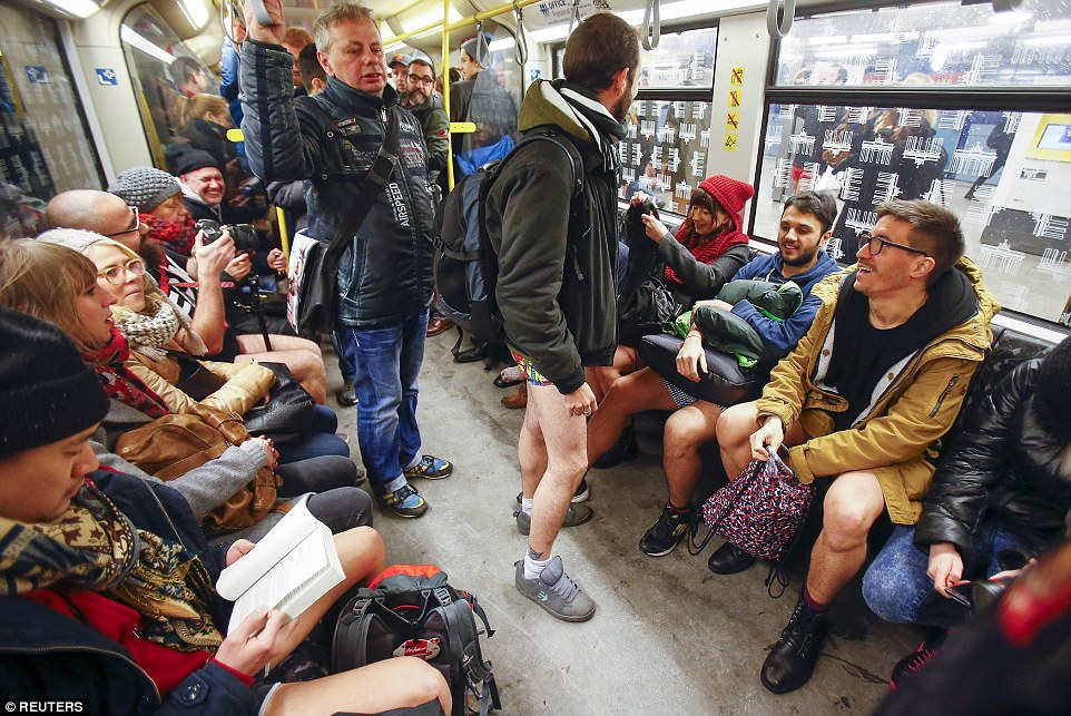 This crowded train in Berlin saw many riders participating in the silliness as they rode the train without trousers on