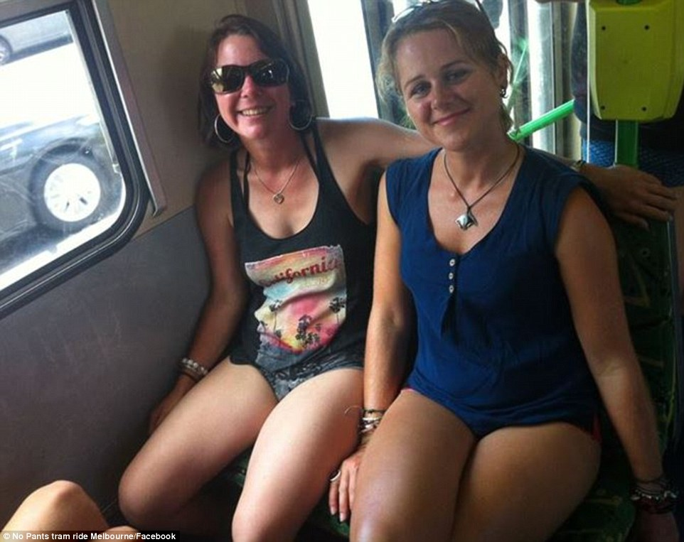 Melbourne residents were also seen without pants catching the trams across the city starting at Fleming park at 12pm on January 10