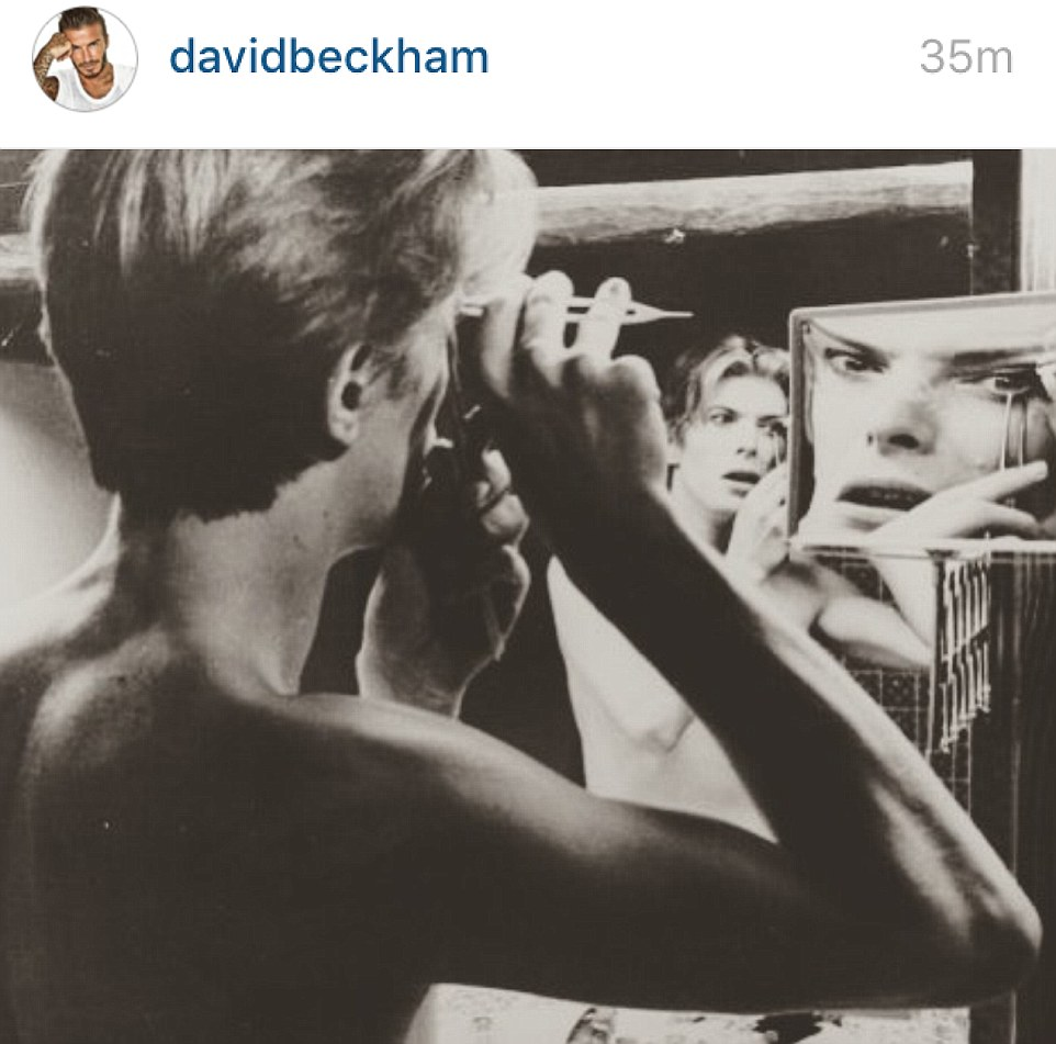 Remembrance: David Beckham shared this picture of Bowie adding: 'Rest In Peace STARMAN'