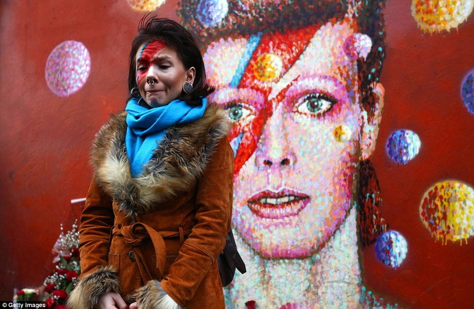Tears for an iconic singer: Rosie Lowery, 21, cried today as she paid tribute to David Bowie at a mural in Brixton, South London