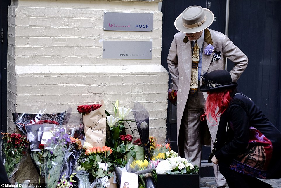 Famous: The street in London where the Ziggy Stardust album cover photograph was taken became another focus of mourning