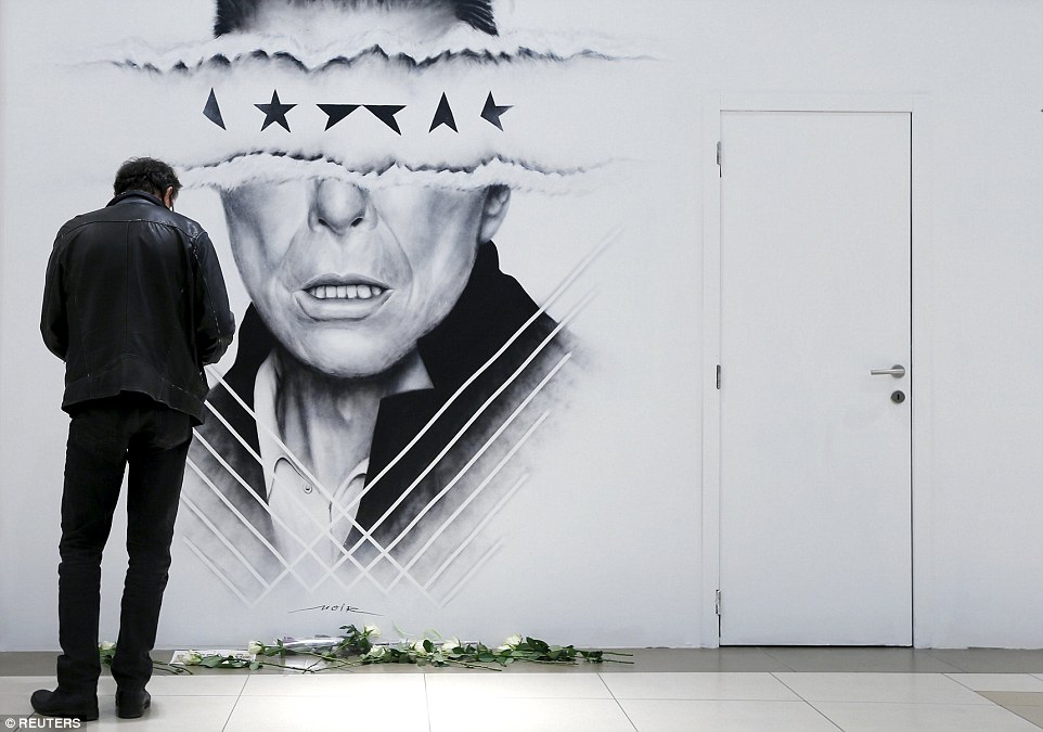 Graffiti: Belgian artist Lucien Gilson drew this portrait of Bowie in a shopping mall in Brussels