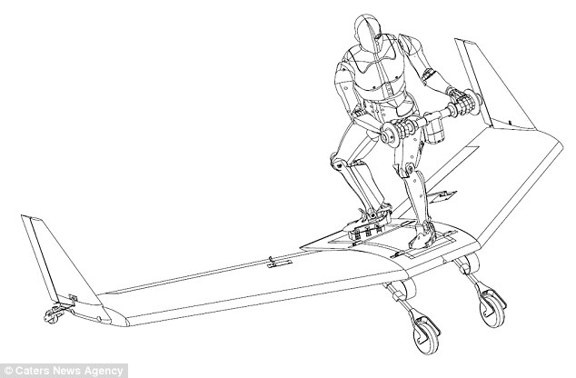 The board works with a system of cables that allow it to be towed behind and aircraft and remain stable enough for a person to stand on top. The wing shape of the board (illustrated) helps it fly through the air