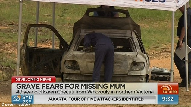 Ms Chetcuti's burnt out car, where it was found near Myrtleford, VIC, about 20km from her home