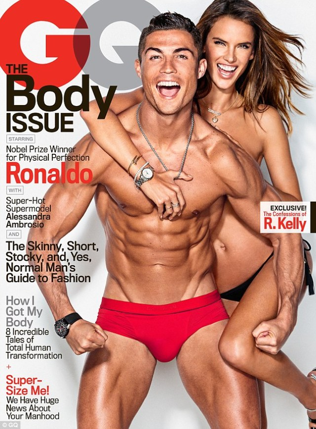 Red hot! The racy cover sees the bikini-clad model drape her body over the Real Madrid star, who displays his washboard abs as he flexes his muscles wearing nothing but a pair of tiny red swimming trunks