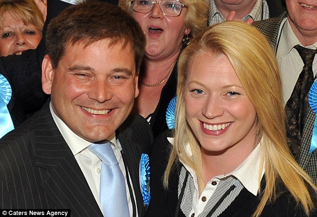 Split: Tory MP Andrew Bridgen, who was accused of touching Annabelle Fuller inappropriately, pictured with his then wife Jackie