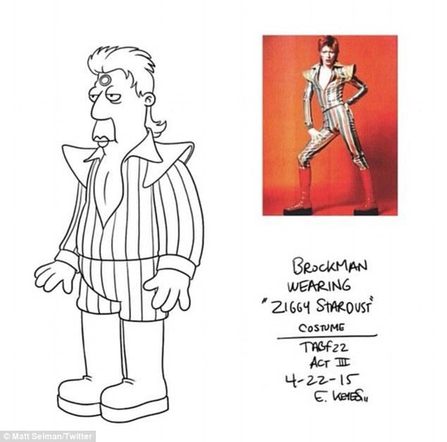 """Grandes aficionados: '. @ TheSimpsons homenaje a un genio """", dijo Al, mientras que Matt escribió:' Esto es lo más cerca que nunca llegamos a tener a David Bowie en Los Simpson."""