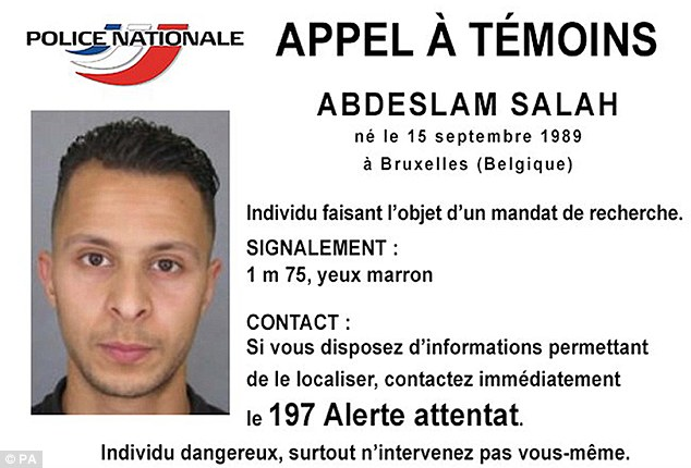 Morocco has been holding Abdelhamid Abaaoud's brother Yassine since October and has issued an arrest warrant for Salah Abdeslam (pictured), who is suspected of taking part in the attacks and is on the run