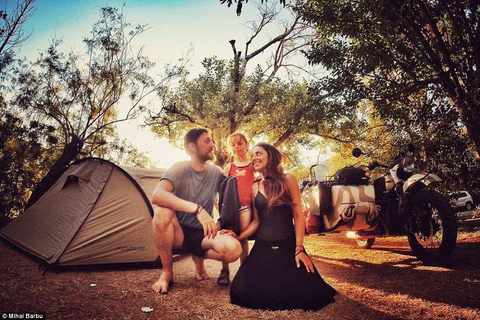 Pictured is the last time the family would use their tent in Greece, and it couldn't have been better weather for it