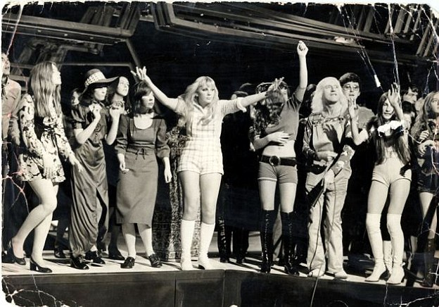 A picture from Top of The Pops in 1971 shows Claire McAlpine, centre, dancing on stage with Jimmy Savile, third from right, only weeks before she died