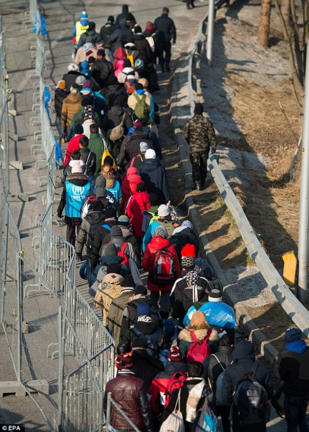 Pressure: A line of migrants snakes along a street as they cross the Slovenian-Austrian border as European leaders admitted the EU's porous borders could cause it to collapse under the pressure