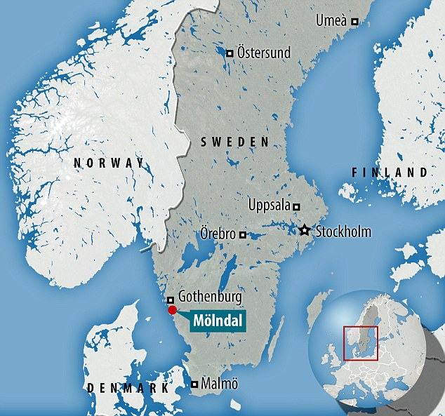 Scene: Molndal, on Sweden's west coast, where the migrant centre is, has been the scene of rising tension in recent months. Neighbourhood-watch groups have been sent out to prevent teenage girls from being sexually harassed on their way home from the commuter trains from Gothenburg