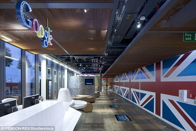 HQ: This is Google's UK reception at one of its central London offices, where thousands are employed, but it insists that it has no 'fixed base' in Britain