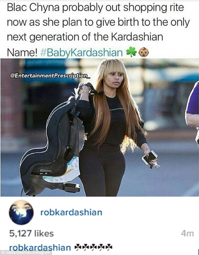 Creating drama: Reclusive Rob  broke his social media silence to share a meme about Blac Chyna carrying on the Kardashian name