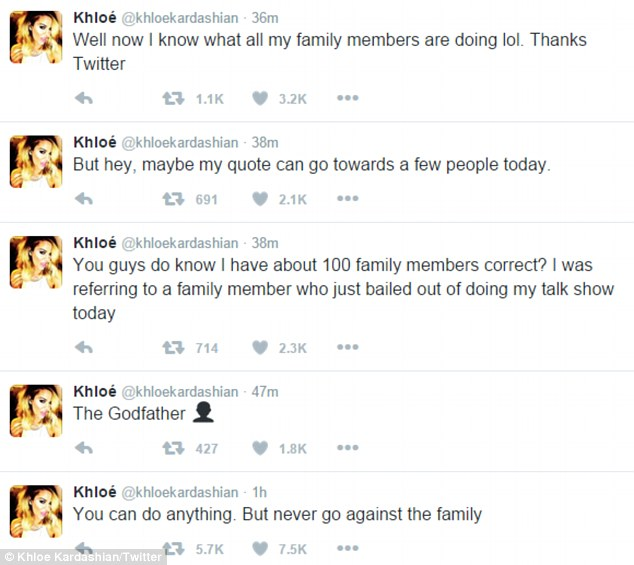Strong words:Khloe used the same words, 'never go against the family', during a series of tweets on Monday after Blac Chyna shared an Instagram snap in which she appeared to be cuddling with Rob