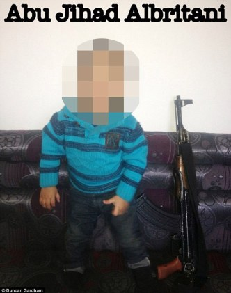 Shakil sent photographs of her son in Syria, including one image showing him sitting next to an AK-47 machinegun. The caption of the picture describes him as 'Abu Jihad al-Britani'