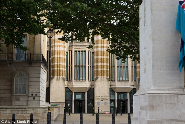 New home? Plans were revealed for MPs to be rehoused in a temporary chamber in a courtyard in the Department of Health at 79 Whitehall (pictured) - opposite The Cenotaph - earlier this week