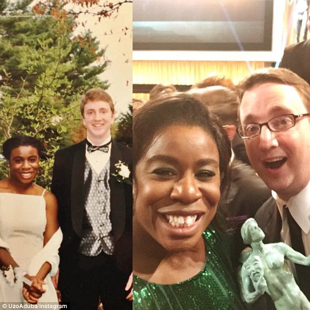 Lifelong pals: Orange Is The New Black star Uzo Aduba took her prom date to the SAG Awards on Saturday