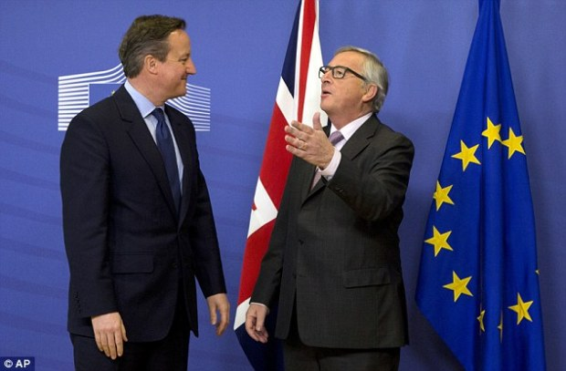 David Cameron met with Jean Claude Juncker, right, the Commission President on Friday, pictured, but said after the meeting the deal was not yet good enough