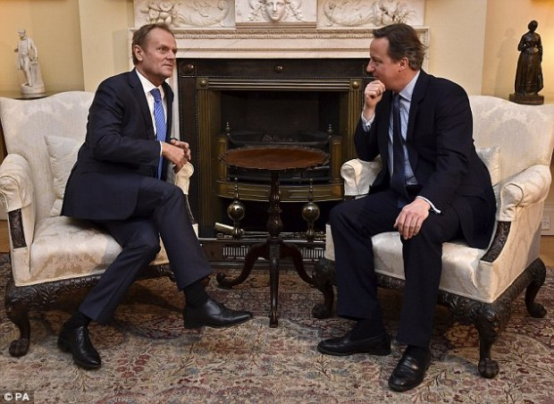 Cameron, right, has come under fire for his EU renegotiation plans, with talks with European Council President Donald Tusk, left, rumbling on