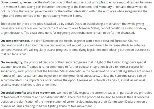 EU Council President Donald Tusk outlined the draft of what had been agreed in a letter, with the key conclusions to each of Mr Cameron's requests pictured above, to all 28 EU heads of government today