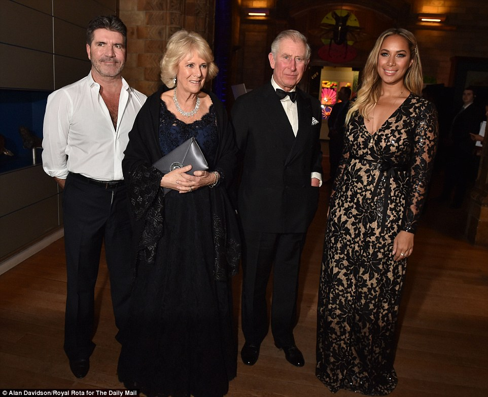 Simon Cowell was pictured with Prince Charles, the Duchess of Cornwall and Leona Lewis at the Natural History Museum dinner in London