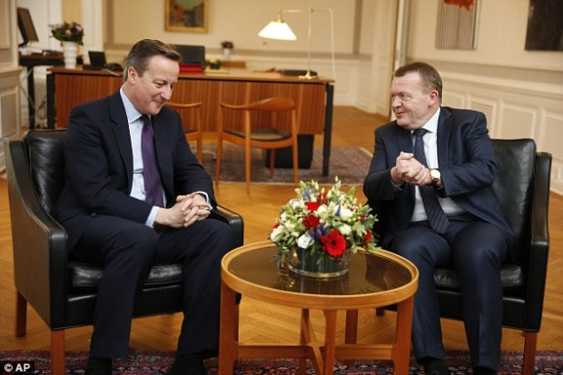 Danish prime minister Lars Løkke Rasmussen, pictured alongside Cameron at a press conference in Copenhagen this afternoon, hailed Britain as a voice of 'common sense' in the EU