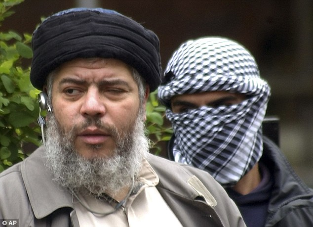 Cleric: Hamza (left) had been detained as a Category A prisoner following his conviction for inciting murder