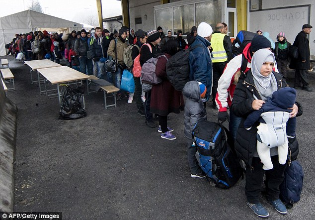 The migrant arrived via the Balkans in September. Thousands of people cross into the country from Slovenia to get into Europe (pictured)