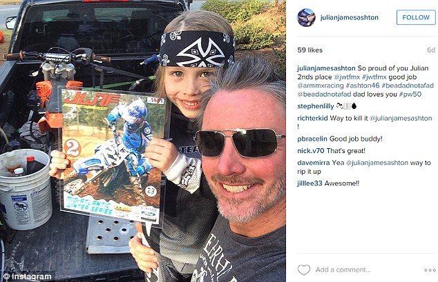 Mirra shot himself in the head after spending time chatting to best friend Scott Ashton (right) at his home in Greenville, North Carolina. Pictured, Ashton with his 10-year-old son Julian (left), who was Mirra's mentee due to his interest in dirt bikes and snowboarding